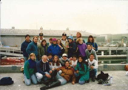 Figure 6. Fall 1993 Ecology Class cruise aboard R/V Point Sur (posing on dock). Pictured: Back Row, left to right: Jon Kao, unknown, Dr. Andrew DeVogelaere, unknown, unknown, Jonna Engel, Elaine Herr, Dave Lindquist, Michelle White, Sean McDermott, Lisa Kerr Lobel, Erica Burton, unknown; Front Row, left to right: Kit Muhs, Dr. Gregor Cailliet, Noel Cristimoto (?), Barbie Byrd, Korie Johnson Schaeffer, Rebecca Reuter, Eli Landrau Woodvine, Leigh Nerney, and Bill Leopold.