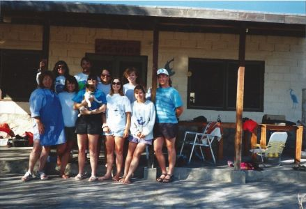 Figure 8. Spotted Sand Bass ageing fieldwork crew in Bahia de Los Angeles, Baja California, Mexico during Spring Break 1994. Pictured left to right: Shirley Andrews, Cheryl Baduini Zaricki, Korie Johnson Schaeffer, Tony Bennett, Tanya Sozanski Bennett, Erica Burton, Lara Ferry, Lisa Kerr Lobel, Doreen Moser Gurrola, and Allen Andrews.