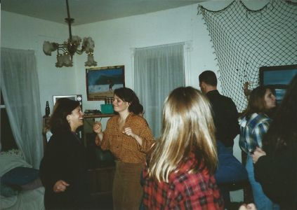 Figure 9. Dancing at Blue House party. Pictured left to right: Jonna Engel, Karen Crow, unknown, Mark Pranger, and Lara Ferry.
