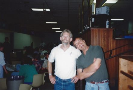 Figure 11. Dive Instructor John Heine and Dr. Ken Johnson at Bowling Tournament, looking confident in claiming bowling trophy. In background: Michelle Lander, Michele Jacobi, Cheryl Baduini Zaricki, Brendan Daly, and MLML students.