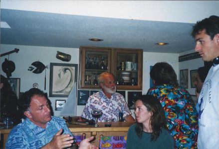 Figure 13. Dr. Greg Cailliet holds court at his Ichthyology Lab house party. Pictured left to right: Rick Starr, Greg Cailliet, Lisa Ziobro de Marignac, Allen Andrews, Joe Bizzarro, and Jean de Marignac.