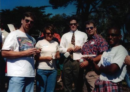 "Figure 14. MLML Ground Breaking ceremony on the hill, September 1997. Pictured left to right: Allen Andrews, Korie Johnson Schaeffer, Brendan Daly, Ned Laman, and Tony Orr (holding souvenir shovel, ""MLML, We're Back!"")."